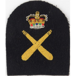 Royal Marines Crossed Clubs + Crown: PTI Trade: Gold On Navy with Queen Elizabeth's Crown. Bullion wire-embroidered Marines or C