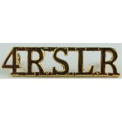 4RSLR (4th Bn Republic Of Sierra Leone Regiment)   Gilt Army metal shoulder title