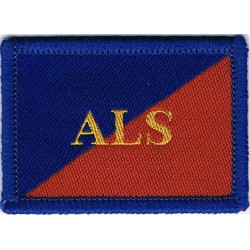Adjutant General's Corps (Army Legal Services) ALS On Red/Blue  Woven Regimental cloth arm badge
