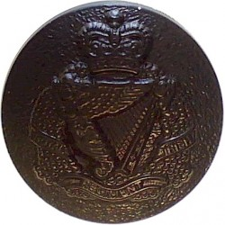 Royal Irish Regiment - For No.2 Dress Shirt - Rare 14.5mm - Black with Queen Elizabeth's Crown. Plastic Military uniform button