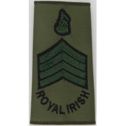 Pipe Major - Royal Irish Regiment Black/Green On Olive  Embroidered Musician, piper, drummer or bugler insignia