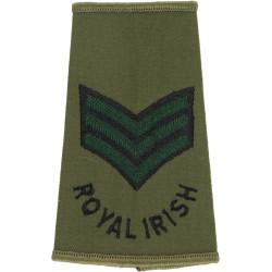 Sergeant (Royal Irish Regiment) Black/Green On Olive  Embroidered NCO or Officer Cadet rank badge