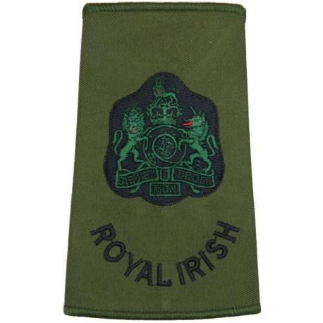 WO1 (RSM) Royal Irish (Royal Irish Regiment) Olive Rank Slide with Queen Elizabeth's Crown. Embroidered Warrant Officer rank bad