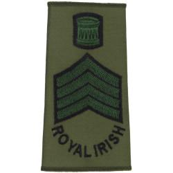 Drum Major - Royal Irish Regiment Black/Green On Olive  Embroidered Musician, piper, drummer or bugler insignia