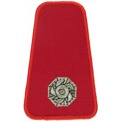 Collar Rank: Crew Manager 1 Impeller On Red  Lurex Fire and Rescue Service insignia