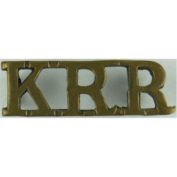 KRR (King's Royal Rifle Corps)   Brass Army metal shoulder title