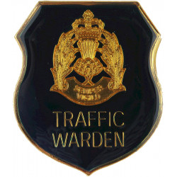 Scottish Police - Traffic Warden Shield Cap Badge with Queen Elizabeth's Crown. Gilt and enamel Police or Prisons hat badge