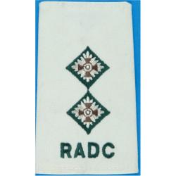 RADC Lieutenant (Royal Army Dental Corps) Rank Slide On Beige  Embroidered Officer rank badge