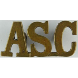 ASC (Army Service Corps) Gap-Top Letters Pre-1918  Brass Army metal shoulder title