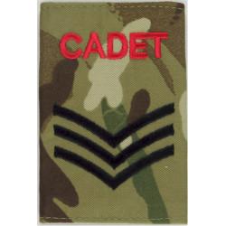 Cadet Sergeant - MTP Camouflage Rank Slide  Embroidered NCO or Officer Cadet rank badge