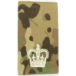WO2 (Crown Only) - Cream On MTP Camouflage Rank Slide with Queen Elizabeth's Crown. Embroidered Warrant Officer rank badge