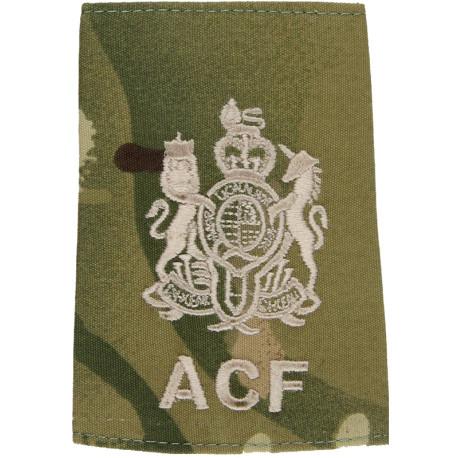 ACF Regimental Sergeant Major Instructor - MTP Camo Rank Slide with Queen Elizabeth's Crown. Embroidered Warrant Officer rank ba