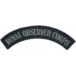 Royal Observer Corps - Shoulder Title On RAF Blue-Grey  Embroidered Royal Observer Corps insignia