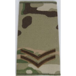 Corporal - Brown On MTP Camouflage Rank Slide  Embroidered NCO or Officer Cadet rank badge
