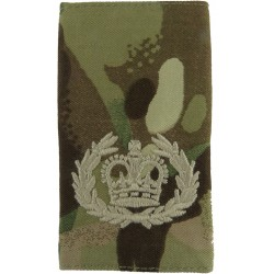 WO2 (RQMS) - Cream On MTP Camouflage Rank Slide with Queen Elizabeth's Crown. Embroidered Warrant Officer rank badge