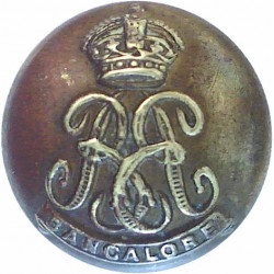 Bangalore Battalion (Auxiliary Force India) 17mm - 1920-1947 with King's Crown. Brass Military uniform button