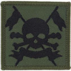 Royal Lancers - Skull On Crossed Lances Black On Olive Green  Woven Regimental cloth arm badge