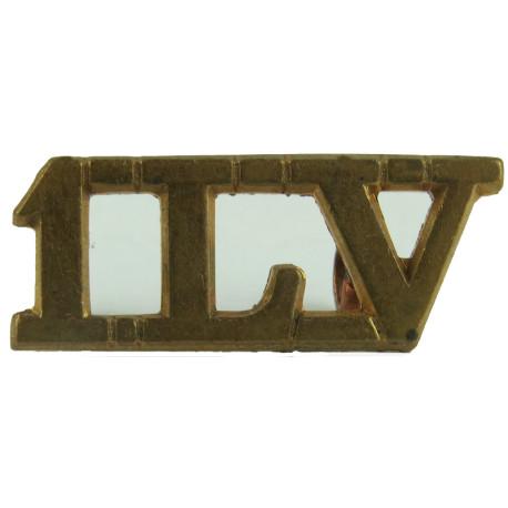 1LV (1st Battalion Lancastrian Volunteers) 1967-1975  Brass Army metal shoulder title