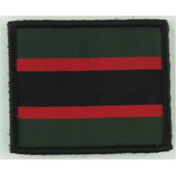 The Rifles (Green/Red/Black/Red/Green Rectangle) 61mm X 49mm  Woven Regimental cloth arm badge