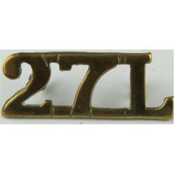 27L (27th Lancers) 1941-1948  Brass Army metal shoulder title