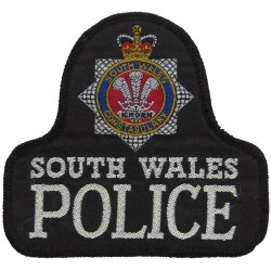 South Wales Police Pullover Badge Bell Shape + Crest with Queen Elizabeth's Crown. Woven UK Police or Prison insignia