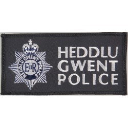 Heddlu Gwent Police Pullover Badge Rectangle + Crest with Queen Elizabeth's Crown. Embroidered UK Police or Prison insignia