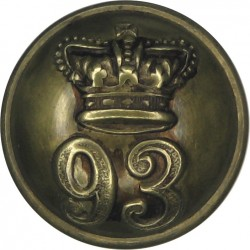 93rd (Sutherland Highlanders) Regiment Of Foot 18mm - 1855-1881 with Queen Victoria's Crown. Brass Military uniform button