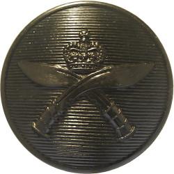Royal Gurkha Rifles 25mm - Black with Queen Elizabeth's Crown. Plastic Military uniform button