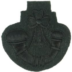 Bugle (Bugle Major - Rifles/Gurkhas) Black On Green Large  Embroidered Musician, piper, drummer or bugler insignia