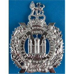 King's Own Scottish Borderers  with Queen Elizabeth's Crown. Anodised Staybrite army cap badge
