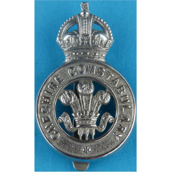 Cheshire Constabulary - Prince Of Wales's Feathers Cap Badge - Pre-1952 with King's Crown. Chrome-plated Police or Prisons hat b