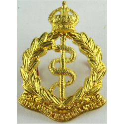 Royal Army Medical Corps - 1902-1947 FL - 34.5mm High with King's Crown. Brass Other Ranks' collar badge