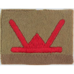 53rd Division (Red W On Khaki Rectangle)   Embroidered Military Formation arm badge