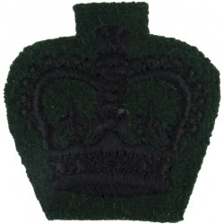Colour Serjeant's Rank Crown (Rifles / Gurkhas) Black On Rifle Green with Queen Elizabeth's Crown. Embroidered NCO or Officer Ca