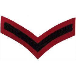 Lance-Corporal's Rank Stripe (2nd KEO Gurkha Rifles) Black On Scarlet  Embroidered NCO or Officer Cadet rank badge