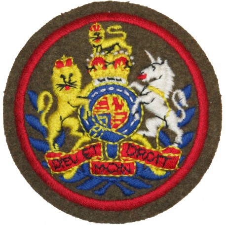 WO1 Conductor Rank Badge - Royal Army Ordnance Corps In Red Circle Border with Queen Elizabeth's Crown. Embroidered Warrant Offi