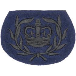 WO2 (RQMS) Rank Badge (Queen's Gurkha Signals) Black On Dark Blue with Queen Elizabeth's Crown. Embroidered Warrant Officer rank