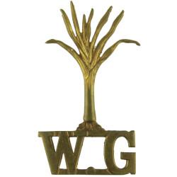 Leek / WG (Welsh Guards) Full Size  Brass Army metal shoulder title