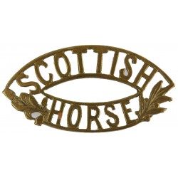 Scottish / Horse Type With Leaves  Brass Army metal shoulder title