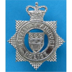 British Transport Police Cap Badge with Queen Elizabeth's Crown. Chrome-plated Police or Prisons hat badge