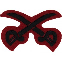 Crossed Swords (PTI - 2nd KEO Gurkha Rifles) Black On Scarlet  Embroidered Army cloth trade badge