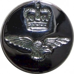 Royal Air Force - Blazer Button 17mm Flat Indented with Queen Elizabeth's Crown. Chrome-plated Military uniform button