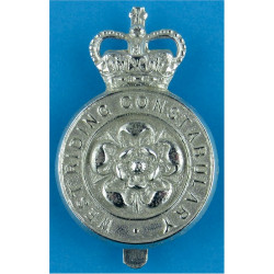 West Riding Constabulary - Yorkshire Rose Centre Cap Badge - Pre-1968 with Queen Elizabeth's Crown. Chrome-plated Police or Pris