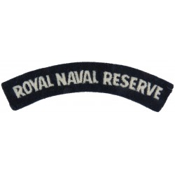 Royal Naval Reserve - Curved Shoulder Title White On Navy Blue  Embroidered Naval Branch, rank or miscellaneous insignia