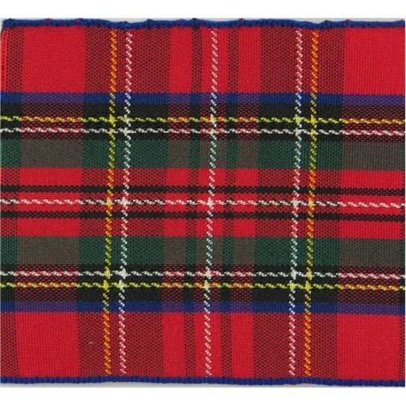 Scots Guards Officers Beret Badge Backing (50x63mm) Royal Stuart Tartan  Ribbon Badge Backing