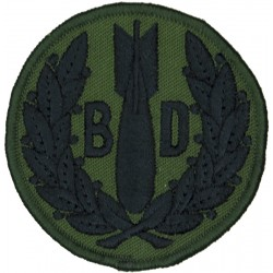 RAF Bomb Disposal (Bomb & 'BD' In Wreath) Black On Olive Disc  Embroidered Air Force Branch Badge