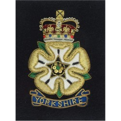Yorkshire Volunteers (also Yorkshire Brigade) Blazer Badge with Queen Elizabeth's Crown. Bullion wire-embroidered Military Blaze