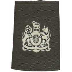 WO1 Rank Badge For Royal Marines Raincoat White On Lovat Green with Queen Elizabeth's Crown. Embroidered Marines or Commando ins