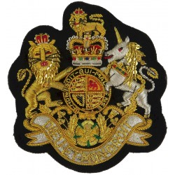 WO1 Sergeant Major's Rank Badge (Guards Mess Kit) On Navy Blue with Queen Elizabeth's Crown. Bullion wire-embroidered Warrant Of