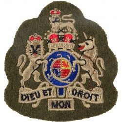 WO1 Sergeant Major's Rank Badge (Guards) Khaki 70mm X 68mm with Queen Elizabeth's Crown. Embroidered Warrant Officer rank badge